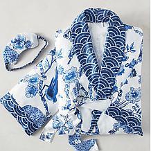 Cameo Robe Set - Blue/White