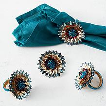 Jeweled Flower Napkin Ring - Set...