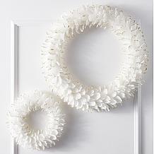 Feather Wreath - White/Gold