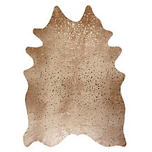 Ayi Metallic Faux Cowhide Rug - Tan