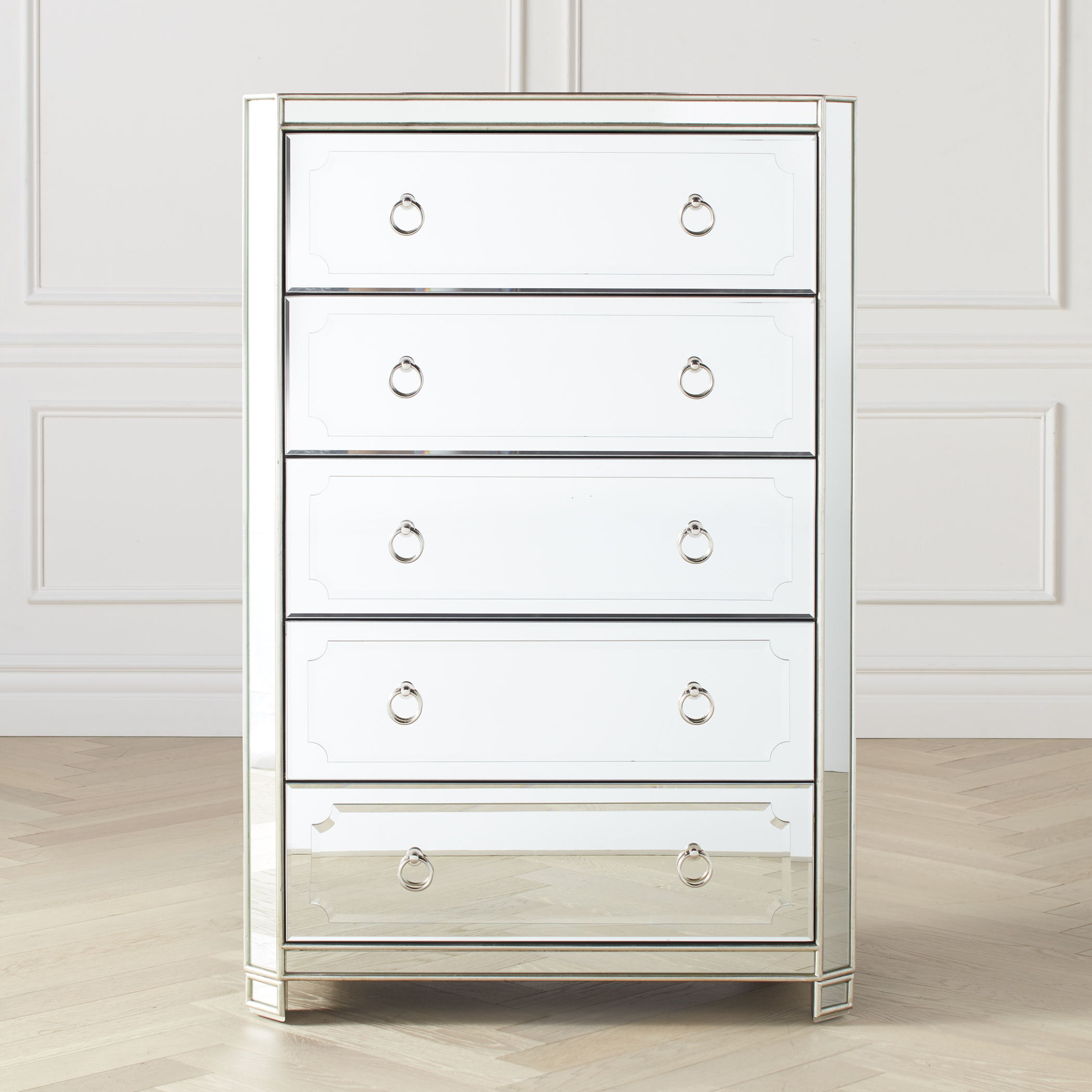 Simplicity Mirrored 5 Drawer Tall Chest Zgallerie