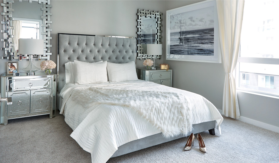 The Prague bed in Jessi's new bedroom featuring the Santorini Mirrors and Simplicity Mirrored Side chests.