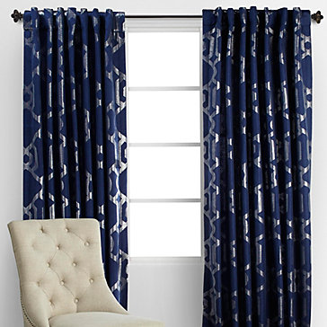 Luxe Panels Sapphire Silver Curtain Rods Collections