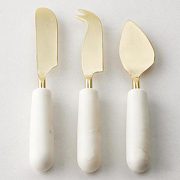 Marble Cheese Knives Set