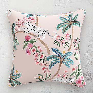 "Palm Leopard Pillow 20"""